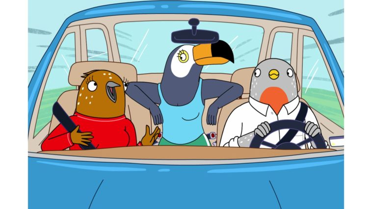 Tuca and Bertie are driving car