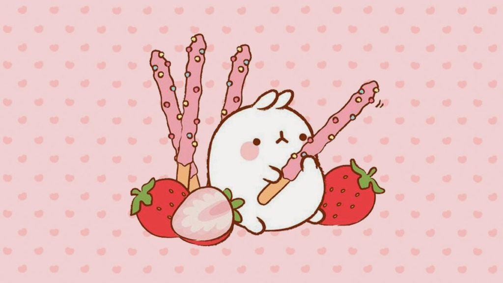 Molang Bunny eating wallpaper